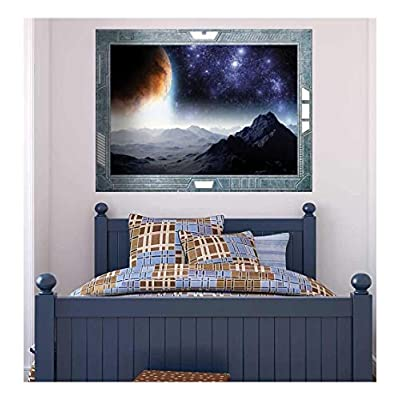 Science Fiction ViewPort Decal A Gloomy and Ominous View of the Planets Wall Mural, Premium Creation, Astonishing Expert Craftsmanship