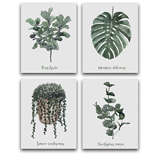 - HPNIUB Simple Life Art Print Green Leaf Painting Set of 4 (10