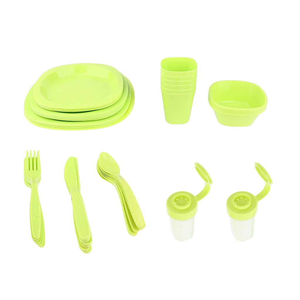 Lightweight Plastic Picnic Dinnerware Set Full Set for Outdoor Camping Picnic BBQ Family Reunion Garden Party with Portable Carry Box - Green, 25.5x25x18cm by Flameer