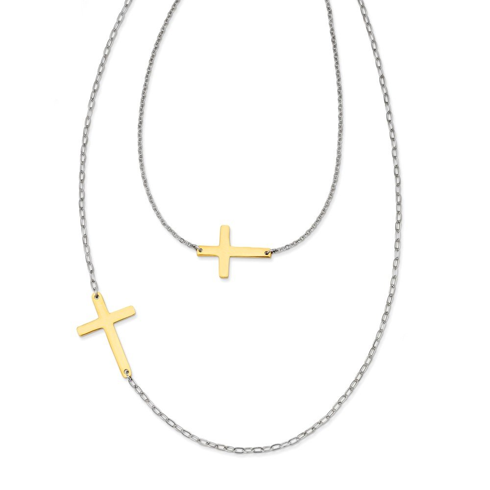 Top 10 Jewelry Gift Stainless Steel Double Sideways Cross Layered Necklace