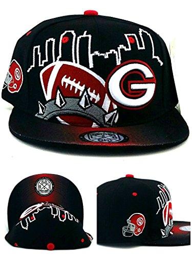 (Georgia New G Leader GA Skyline 3 Bulldogs Colors Black Red Era Snapback Hat Cap)