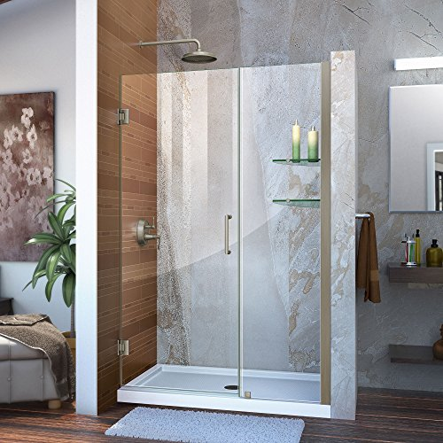 DreamLine Unidoor 46-47 in. Width, Frameless Hinged Shower Door, 3/8' Glass, Brushed Nickel Finish
