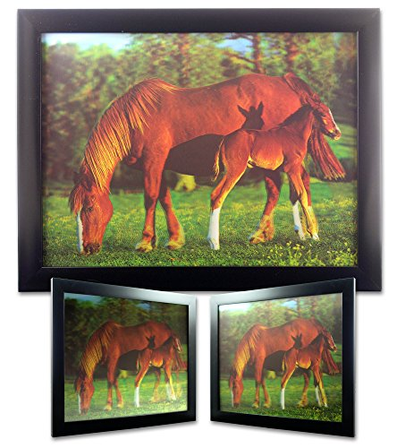 (BANBERRY DESIGNS Horse 3D Picture - Black Framed Wall Art Decor - 3 Dimensional Holographic Picture of Horses)