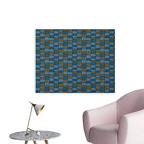 Anzhutwelve Vintage Painting Post Abstract Design Oriental Geometric Grid Style Squares and Rectangles Cool Poster Blue Caramel Pale Blue W32 xL24