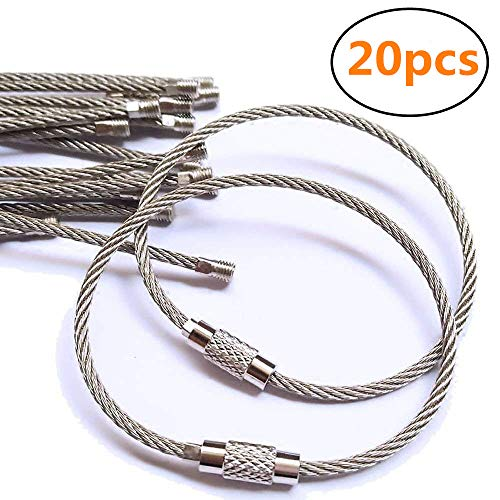 20pcs Stainless Steel Wire Keychain Cable Key Ring for Outdoor Hiking,6 inch