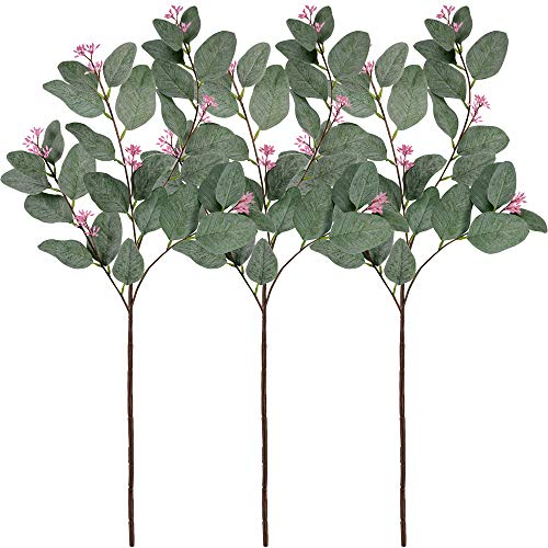 Supla 3 Pcs Faux Eucalyptus Leaf Spray Fake Seeded Eucalyptus Leaves Branches in Grey Green 32.7