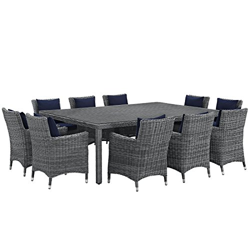 Modway Summon 11 Piece Outdoor Patio Dining Set With Sunb...