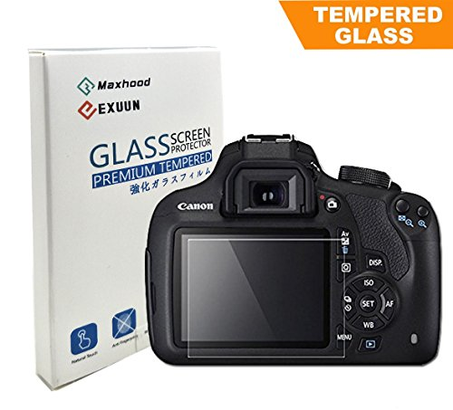 Canon EOS Rebel T6 T5 1200D 1300D Tempered Glass Screen Protector, Exuun Optical 9H Hardness 0.3mm Ultra-Thin DSLR Camera LCD Tempered Glass for Canon 1200D/1300D Digital Camera