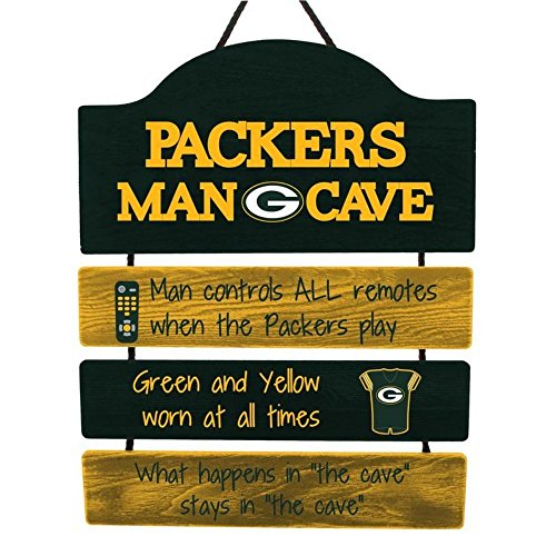 (FOCO NFL Green Bay Packers Team Logo Mancave Man Cave Hanging Wall Sign, Team Color, One Size)