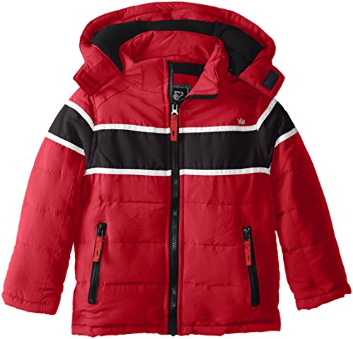 Stripe and Boys' with Hood Contrasting Red YMI Horizontal Jacket Bubble Racing Detachable T6nd8f0q