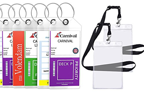 Cruise Tags Luggage Etag Holders Zip Seal & Steel Loops Thick PVC (4 Pack + 2 ID Holders)