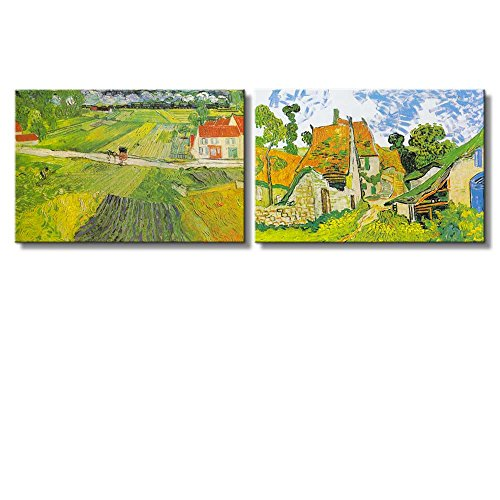 Landscape with a Carriage and a Train Village Street in Auvers by Vincent Van Gogh Oil Painting Reproduction in Set of 2 x 2 Panels