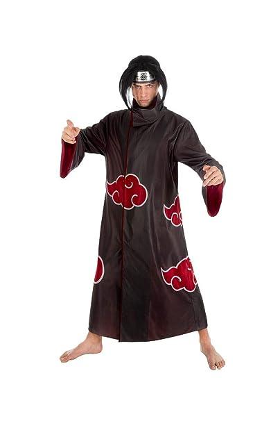 Naruto Disfraz Itachi Uchiha 2pcs Negro Rojo: Amazon.es ...