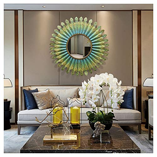 Sunburst Shape Wall Mirror, European 3D Metal Phoenix Wall-Mounted Mirror, Bedroom, Living -