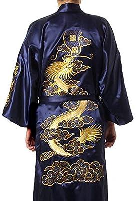 Shonan Traditional Chinese Kimono Silk Lounge Robe Bathrobe Pajama (Medium, Navy Blue)