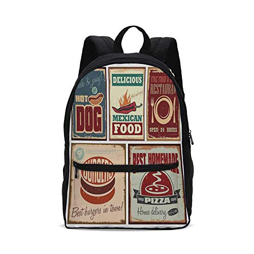 1950 Backpack - 1950s Decor Fashion Canvas printed Backpack,Nostalgic Tin Signs and Retro Mexican Food Prints Aged Advirtising Logo Style Artistic Design for school,One_Size