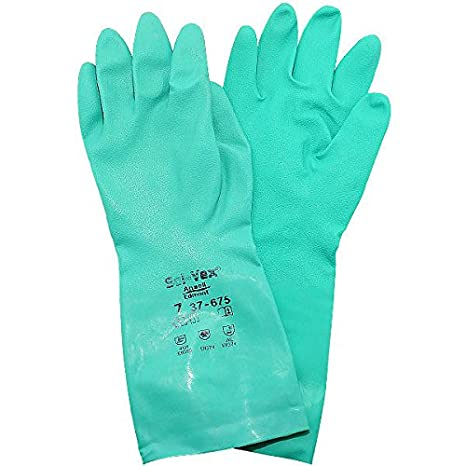 Ansell 37-675 Sol-Vex/® Nitrile Chemical Resistant Gloves Green #6~Green
