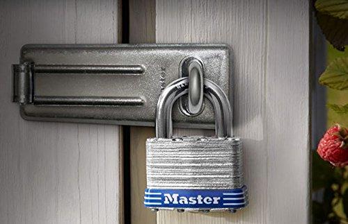 Master Lock Padlock, Laminated Steel Lock, 1-9/16 in. Wide, 3008D (Pack of 4-Keyed Alike) by Master Lock (Image #1)