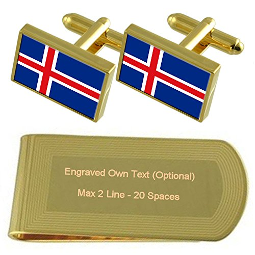 Money tone Clip Iceland Cufflinks Flag Engraved Set Gift Gold xwqqUI4