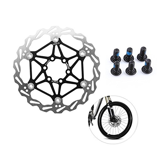 Vbestlife Bicycle Disc Brake, MTB Hydraulic Disc Brake Set Bike Disc Brake Kit Front and Rear, MTB DH Float Floating Rotors Hydraulic Pad 160mm / 180mm/ 203mm, Cycling Accessory (180mm-Black)