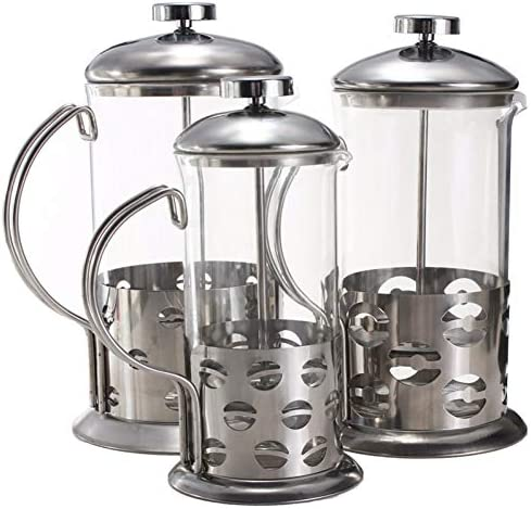 SYSWJ Kaffeemaschine Manuelle Kaffeemaschine Topf Espresso Edelstahl Glas Teekanne Kaffee Tee Percolator Filterpresse Kolben , 800Ml