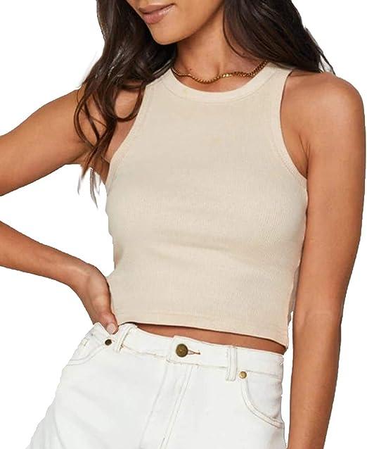 Women Crop Tank Top Cotton Sleeveless Short Sportshort Sleeve Blouse T-Shirt