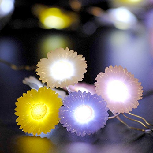 Spring Garden Rope Lights String, Impress Life Daisy 10 ft 40 LEDs with Remote for Patio, Terrace, Birthday, Covered Outdoor, House Sunshine Seasonal Parties, Bedroom, Living Room, Home Decorations