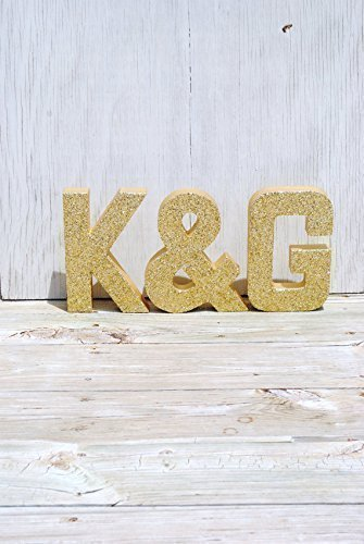Gold Glitter Stand Up Decorative Monogram Letters, Anniversary, Wedding Reception Table, Photo Prop