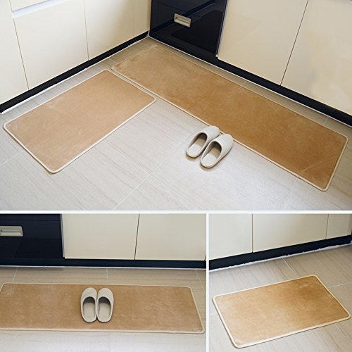 Yoler Thin Kitchen Mat Non-slip Microfiber Flannel Area