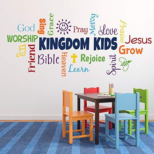 "Dozili Word Collage, Kingdom Kids, Sunday School, Church Nursery, Fellowship Hall, Inspirational, Wall Vinyl, Wall Words, Vinyl Sticker 19"" X 42"""
