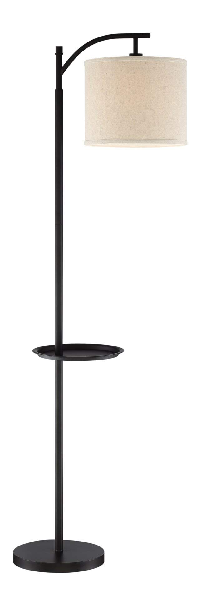 Revel/Kira Home York 63'' Minimalist Tray Table LED Floor Lamp (7W LED, Energy Efficient/Eco-Friendly) + Honey Beige Shade, Black Finish