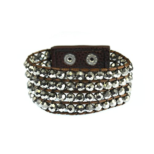 Metallic Hematite Czech Glass (Four Row Faceted Hematite Crystal Bead with Double Snap Closure Bracelet - 7 inch Wrist)