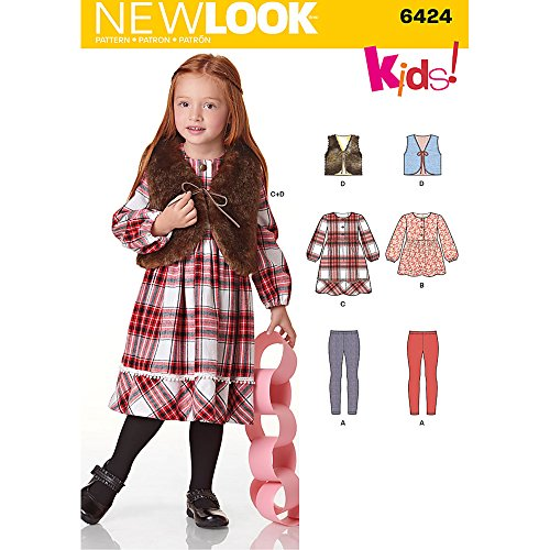 - New Look Patterns Child's Dress, Top, Vest and Knit Leggings Size: A (3-4-5-6-7-8), 6424