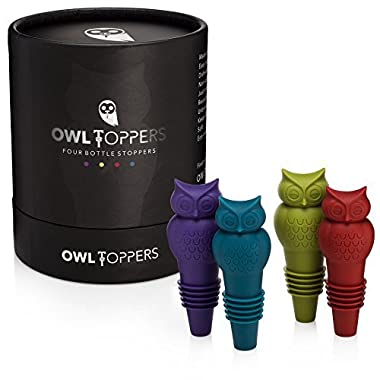 Owltoppers Bottle Stoppers (4 Pack, 2 Sizes) Wine Saver, Champagne Preserver, Decorative Glass Bottle Cork Set, Unique Wine Lover Gift Idea