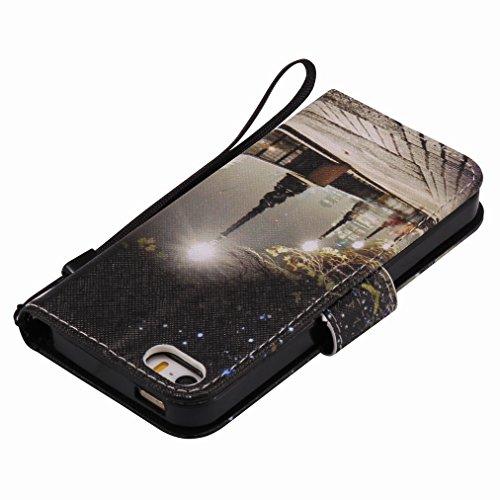 Custodia Apple iPhone 5s / iPhone SE Cover Case, Ougger Portafoglio PU Pelle Magnetico Stand Morbido Silicone Flip Bumper Protettivo Gomma Shell Borsa Custodie con Slot per Schede, Scena Notturna