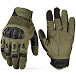 JIUSY Touch Screen Tactical Military Hard Knuckle Full Finger Gloves for Army Airsoft Paintball Combat Hunting Riding Motorcycle Cycling Bicycle Shooting Work Gear