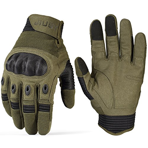 JIUSY Touch Screen Tactical Military Hard Knuckle Full Finger Gloves for Army Airsoft Paintball Shooting Combat Hunting Hiking Riding Motorcycle Cycling Bicycle Work Gear Green Size Small