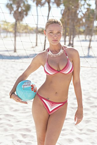Sexy Girl in Bikini Holding Volleyball at Beach Photo Art Print Poster 18x12 inch
