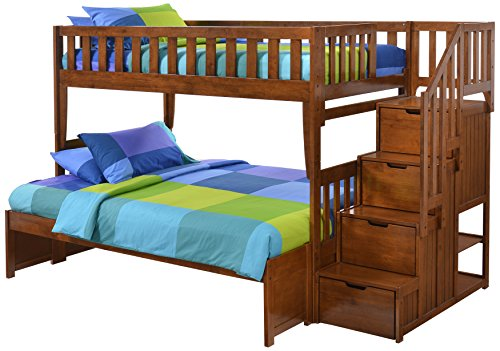 Night & Day Furniture PBB-PEP-T/F-CH-COM Peppermint Stair Bunk Bed Twin/Full Cherry