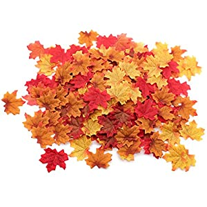 Moon Boat 500PCS Fall Artificial Maple Leaves Decorations - Thanksgiving Autumn Leaf Wedding Party Table Decor 2
