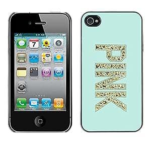 TopCaseStore / la caja del caucho duro de la cubierta de protección de la piel - Glitter Bling Mint Green - Apple iPhone 4 / 4S