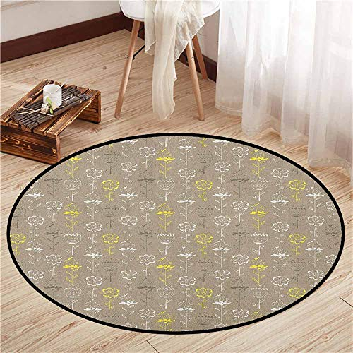 Living Room Round Rugs,Grey and Yellow,Hand Drawn Sketchy Tulips Flowers Leaves Butterflies Art Image,Super Absorbs Mud,4'3