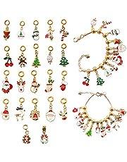Barwa Advent Countdown Calendar DIY Charm Bracelet for Kids Charm Bracelet Making Kit Including 22 Charms Beads 2 Snake Chain