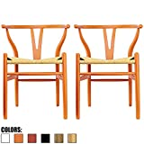 2xhome Set of 2 Orange Wishbone Wood Armchair with Arms Open Y Back Open Mid Century Modern Contemporary Office Chair Dining Chairs Woven Seat Brown Living Desk Office For Sale