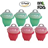 Starsprairie Egg Cooker Poached Hard Boiled Soft Silicone Egg Maker without Shell For Microwave Stovetop Egg Cooker Pack of 6 (3 Green+ 3 Red)