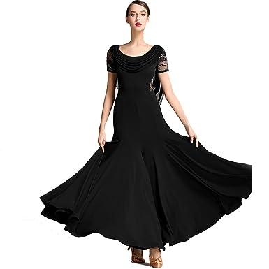 a8cd78ee2 Women Special Neck Design Gauze Joint Lace Short Sleeves Long Hemline  Ballroom Waltz Dresses for Foxtrot