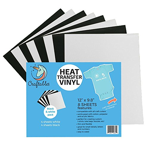 Craftables Heat Transfer Vinyl Black and White Bundle 12 x 9.8 - (8) Sheet Color Pack of Assorted Colors - T-Shirt Vinyl, Iron On Vinyl, for Silhouette Cameo, Cricut - Ships Flat