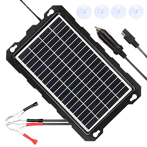 POWISER 7.5W Solar Battery Charger 12V Solar Powered Battery maintainer & Charger,Suitable for Automotive, Motorcycle, Boat, Marine, RV, Trailer, Powersports, Snowmobile, etc. (7.5W Poly) (Best Solar Battery Maintainer)