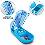 Ergonomic Pill Cutter Splitter with Finger Protection - Cutting Medication Tablets in Half with Small Pill Box Container - Vitamins NAD Supplement Slicer Chopper Divider