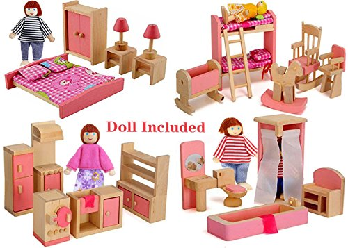 Wood Family Doll Dollhouse Furniture Set, Pink Miniature Bathroom/ Kid Room/ Bedroom/ Kitchen House Furniture Dollhouse Decoration accessories with 4 people Wooden Family Play Dolls (2-4 inches each) (Doll Furniture Set)